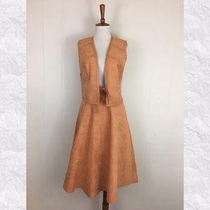 Vintage Faux Suede Vest & A-Line Skirt Set